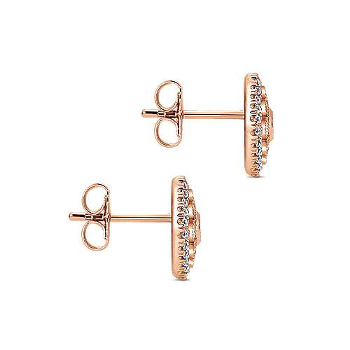 14k Pink Gold Diamond Stud Earrings angle 3