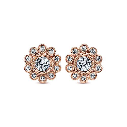 14k Pink Gold Diamond Stud