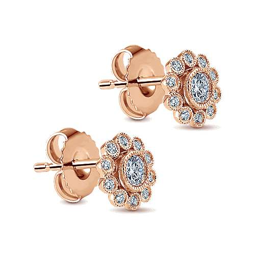 14k Pink Gold Diamond Stud Earrings angle 2