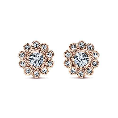 Gabriel - 14k Pink Gold Floral Stud Earrings