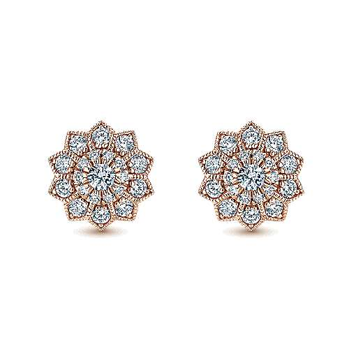 Gabriel - 14k Pink Gold Clustered Diamonds Stud Earrings
