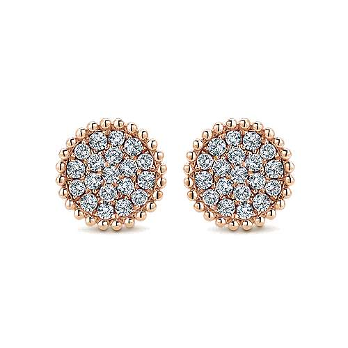Gabriel - 14k Pink Gold Bombay Stud Earrings