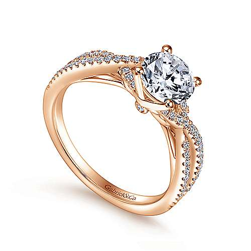 14k Pink Gold Diamond Twisted Engagement Ring angle 3