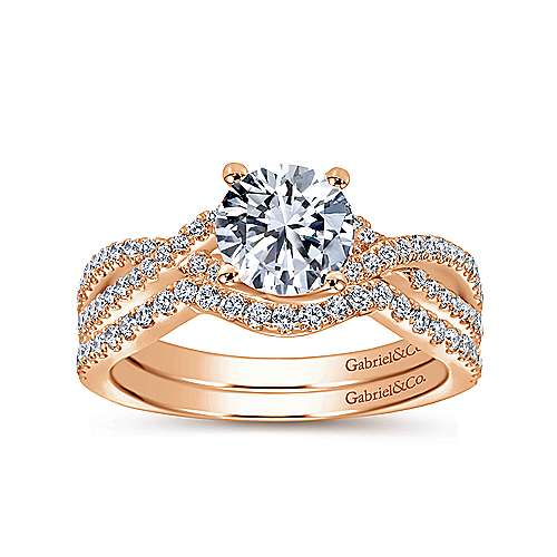 14k Pink Gold Diamond Twisted Engagement Ring angle 4