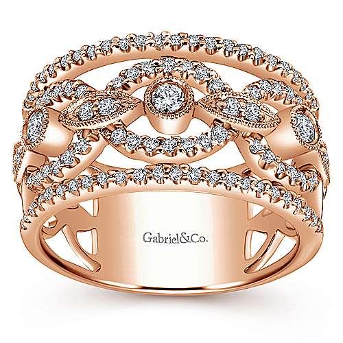14k Pink Gold Diamond Wide Band Ladies