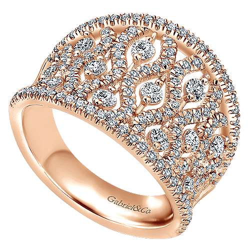 14k Pink Gold Diamond Wide Band Ladies