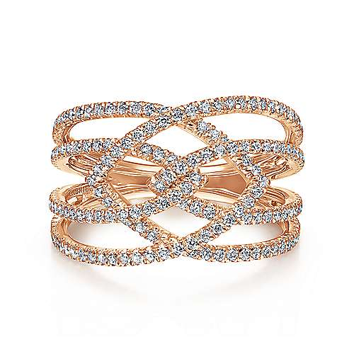 14k Pink Gold Lusso Diamond Wide Band
