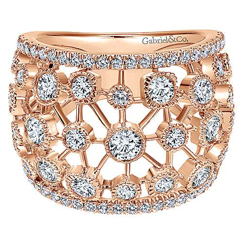 Gabriel - 14k Pink Gold Lusso Diamond Wide Band Ladies' Ring