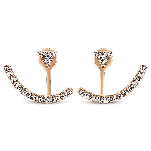 Gabriel - 14k Pink Gold Double Earrings Peek A Boo Earrings