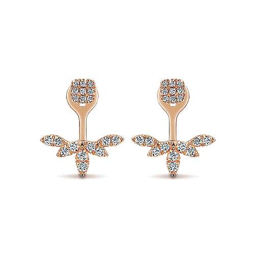 Gabriel - 14k Pink Gold Double Earrings Peek A Boo Earrings