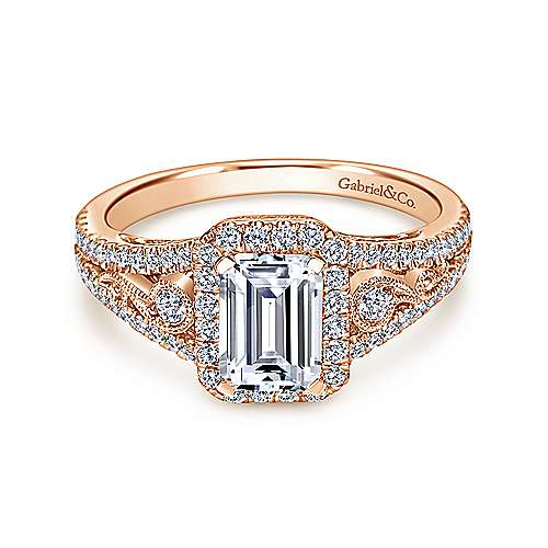 Gabriel - 14k Pink Gold Emerald Cut Halo Engagement Ring