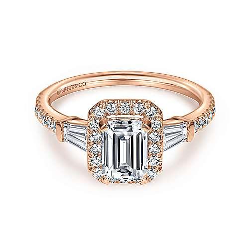 14k Pink Gold Emerald Cut Halo