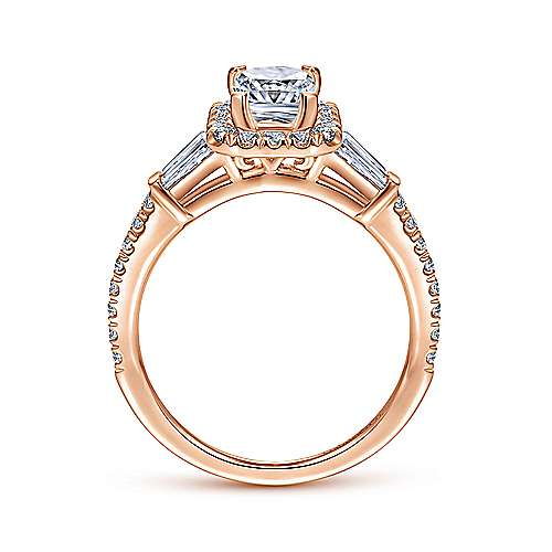 14k Pink Gold Emerald Cut Halo Engagement Ring angle 2