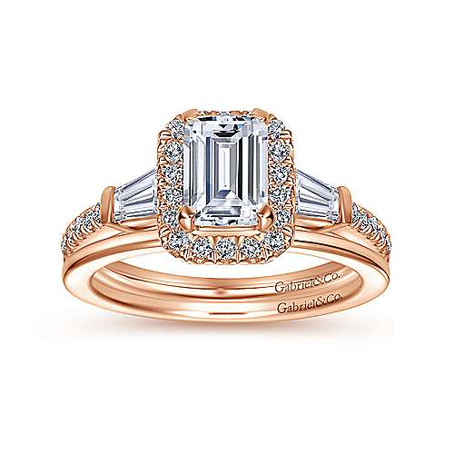 14k Pink Gold Emerald Cut Halo Engagement Ring angle 4