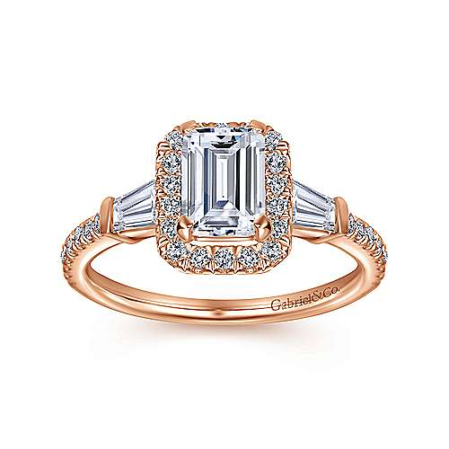 14k Pink Gold Emerald Cut Halo Engagement Ring angle 5