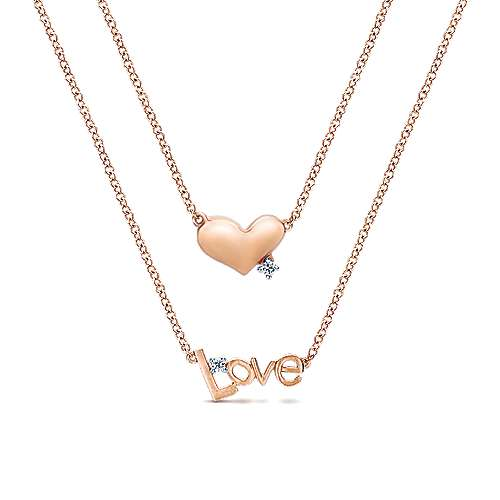 Gabriel - 14k Pink Gold Eternal Love Heart Necklace