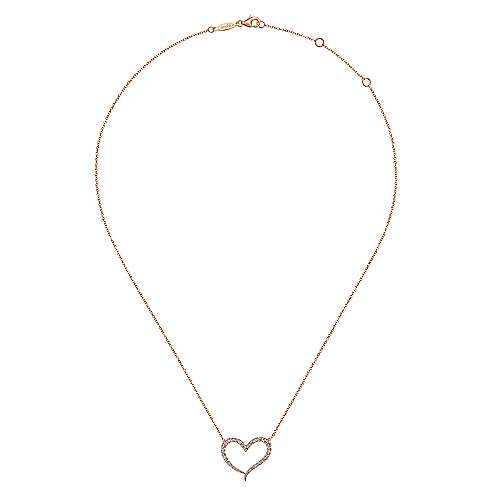 14k Pink Gold Eternal Love Heart Necklace angle 2
