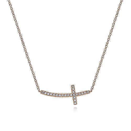 Gabriel - 14k Pink Gold Faith Cross Necklace