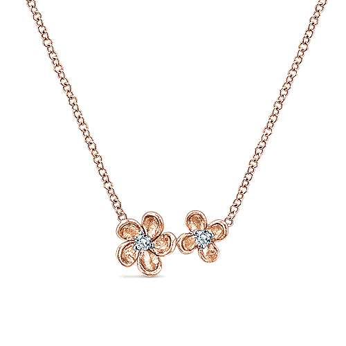 14k Pink Gold Floral Fashion Necklace angle 1