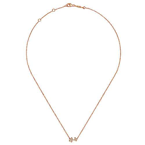 14k Pink Gold Floral Fashion Necklace angle 2