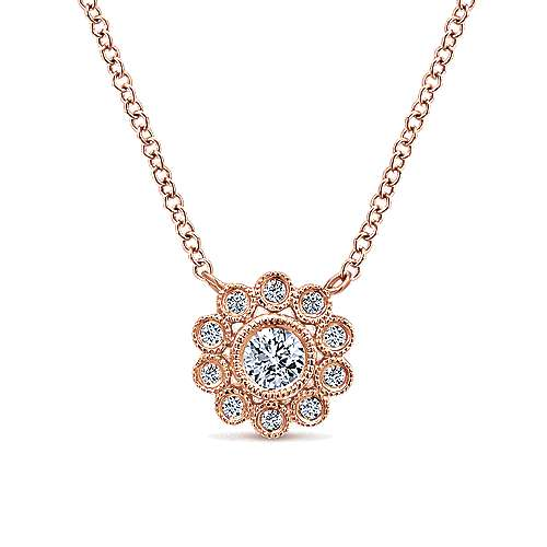 Gabriel - 14k Pink Gold Floral Fashion Necklace