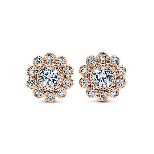 14k Pink Gold Floral Stud Earrings angle 1