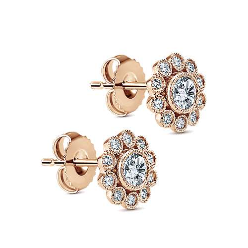 14k Pink Gold Floral Stud Earrings angle 2