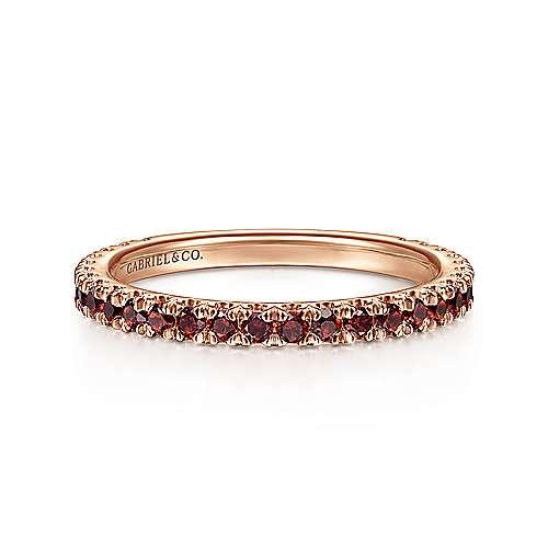 14k Pink Gold Garnet Stackable