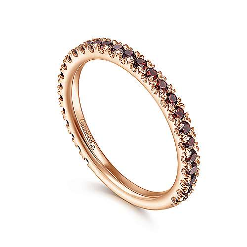 14k Pink Gold Garnet Stackable Ladies
