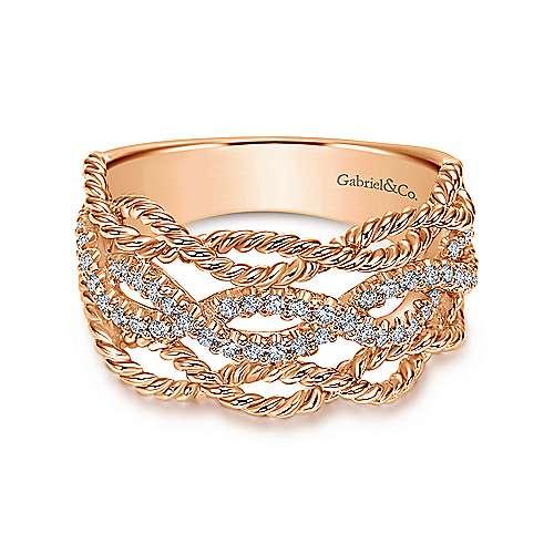 Gabriel - 14k Pink Gold Hampton Wide Band Ladies' Ring