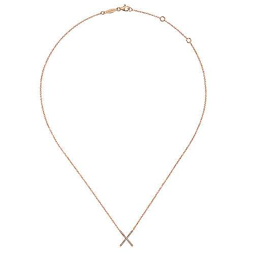 14k Pink Gold Indulgence Bar Necklace angle 2