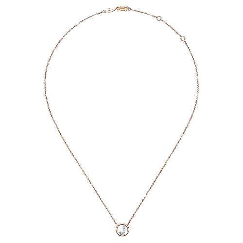 14k Pink Gold Initial Necklace angle 2