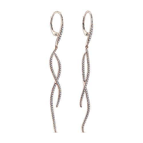 14k Pink Gold Kaslique Drop Earrings angle 2