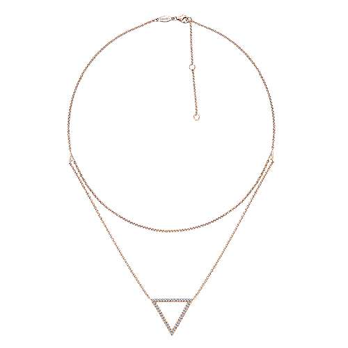 14k Pink Gold Kaslique Fashion Necklace angle 2