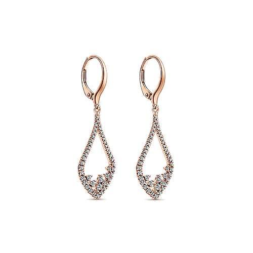 14k Pink Gold Lusso Diamond Drop Earrings angle 2