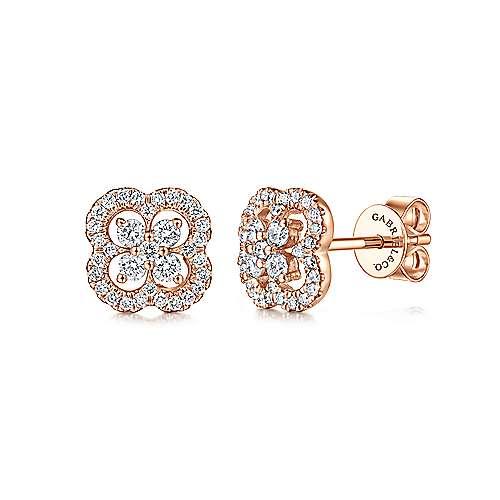 Gabriel - 14k Pink Gold Lusso Diamond Stud Earrings