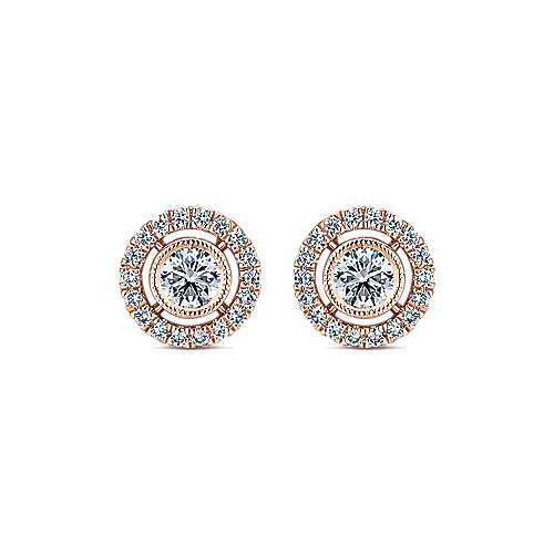 14k Pink Gold Lusso Diamond Stud Earrings angle 1