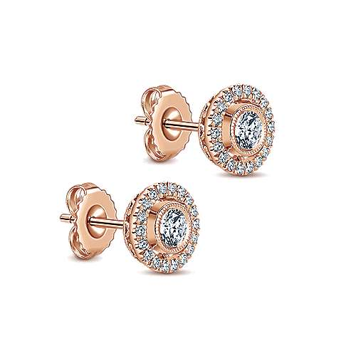 14k Pink Gold Lusso Diamond Stud Earrings angle 2