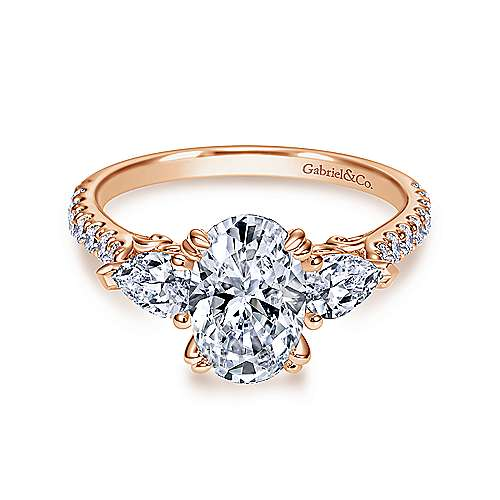 Gabriel - 14k Pink Gold Oval 3 Stones Engagement Ring