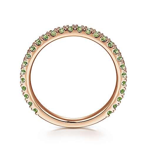 14k Pink Gold Peridot Stackable Ladies