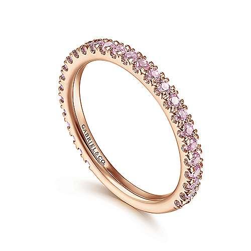 14k Pink Gold Pink Created Zircon Stackable Ladies