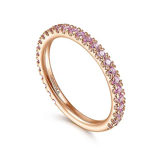 14k Pink Gold Pink Sapphire Stackable Ladies