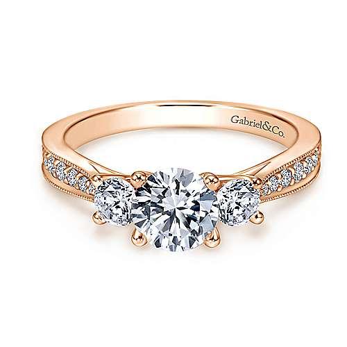 Gabriel - 14k Pink Gold Round 3 Stones Engagement Ring