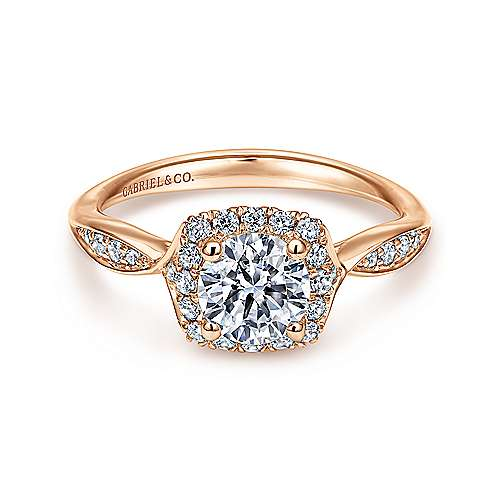 14k Pink Gold Round Halo Engagement Ring angle 1