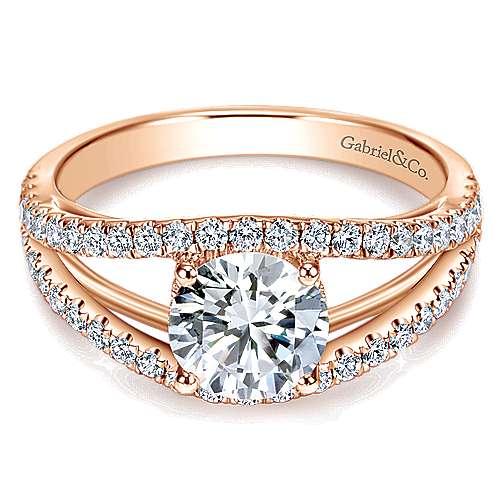 Gabriel - 14k Pink Gold Round Split Shank Engagement Ring