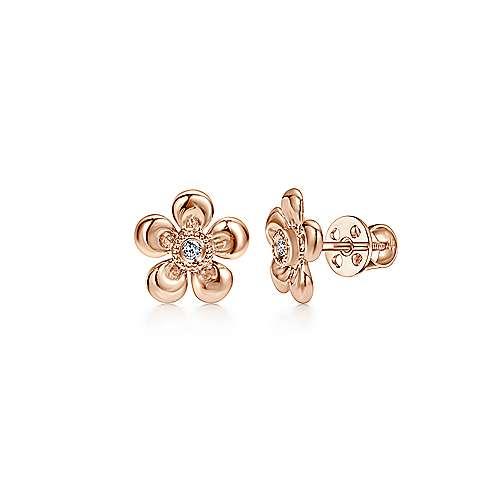Gabriel - 14k Pink Gold Secret Garden Stud Earrings