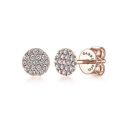 Gabriel - 14k Pink Gold Silk Stud Earrings