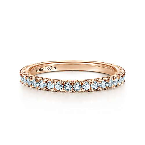 14k Pink Gold Sky Blue Topaz Stackable Ladies