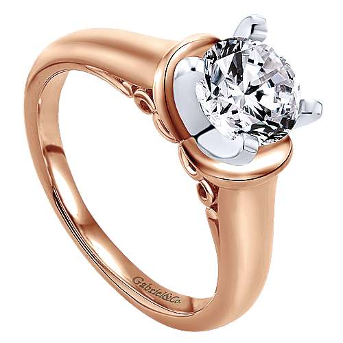 14k Pink Gold Solitaire Engagement Ring angle 3
