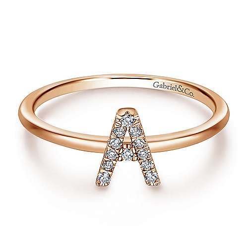 Gabriel - 14k Pink Gold Stackable Initial Ladies' Ring